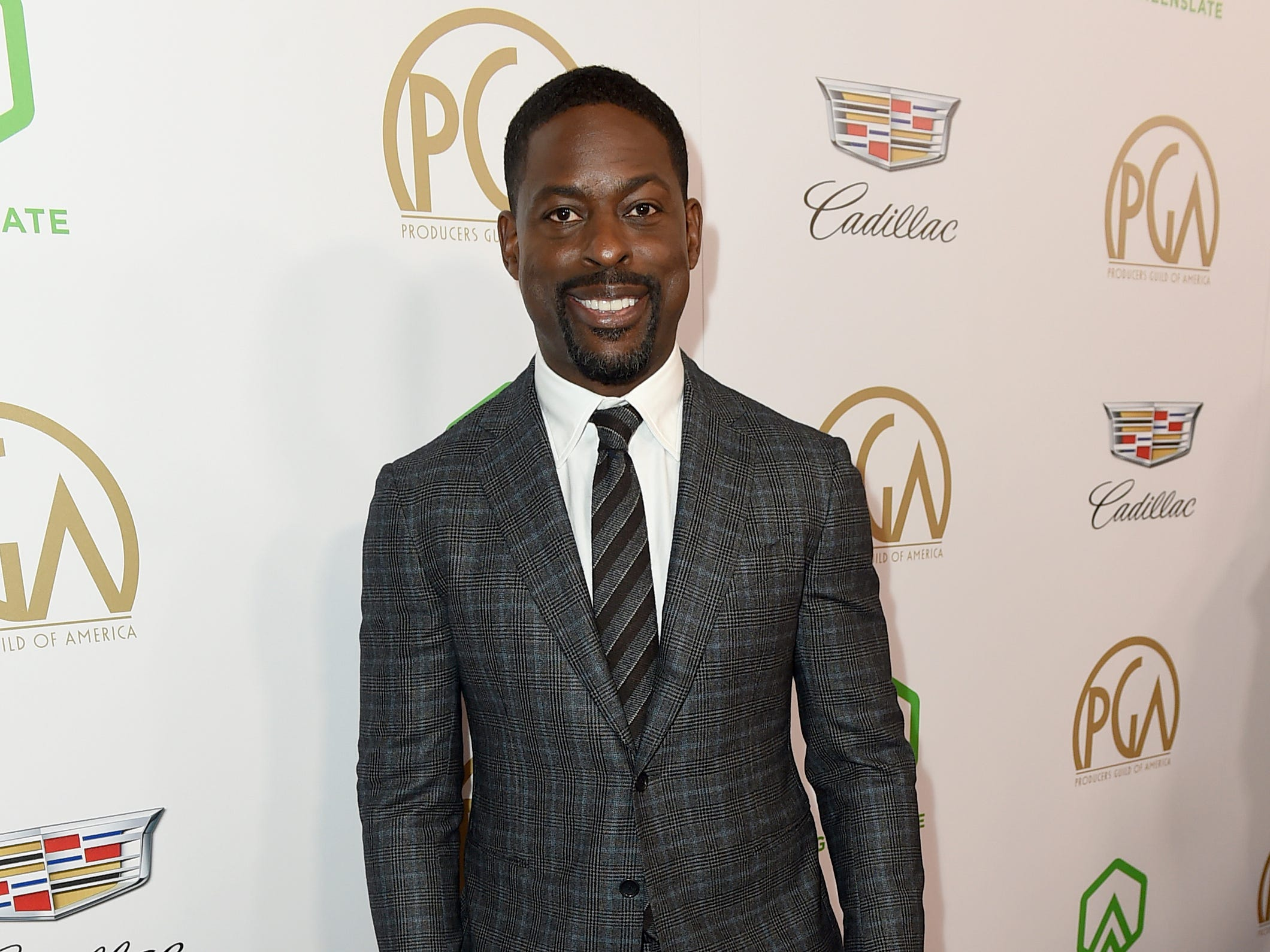 IMAGE DISTRIBUTED FOR PRODUCERS GUILD OF AMERICA - Sterling K. Brown arrives at the 30th Producers Guild Awards presented by Cadillac at the Beverly Hilton on Saturday, Jan. 19, 2019, in Beverly Hills, Calif. (Photo by Jordan Strauss/Invision for Producers Guild of America/AP Images) ORG XMIT: CALB117