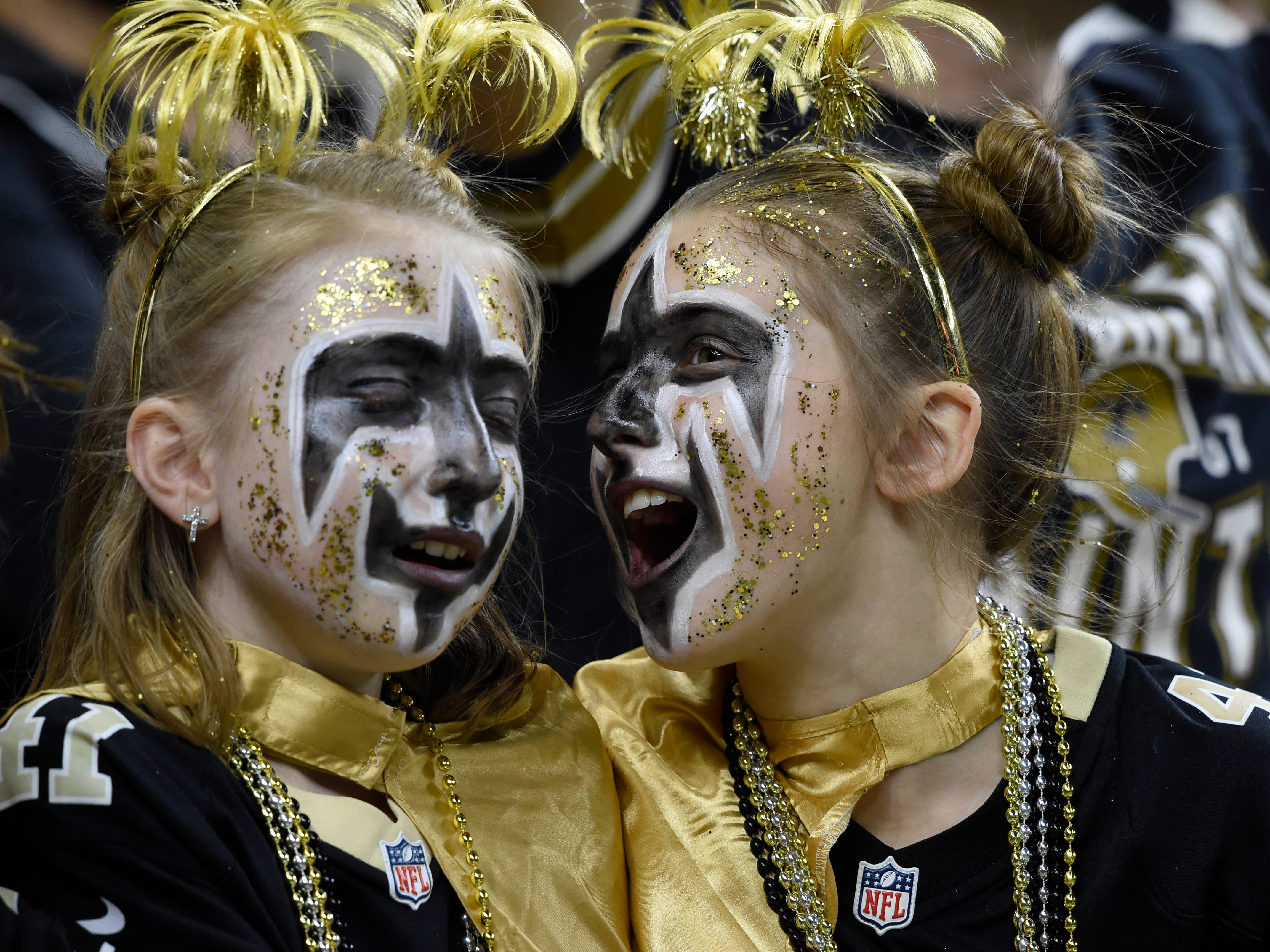 New Orleans Saints fans during the first quarter in the NFC Championship game against the Los Angeles Rams at Mercedes-Benz Superdome.
