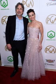 "Peter Farrelly, left, and Linda Cardellini, one of his ""Green Book"" stars, arrive at the Producers Guild Awards on Saturday."