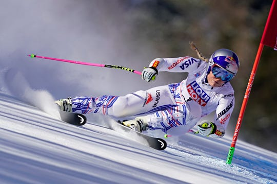 Lindsey Vonn races during the Audi FIS Alpine Ski World Cup Women's Super G on Jan. 20, in Cortina d'Ampezzo Italy.