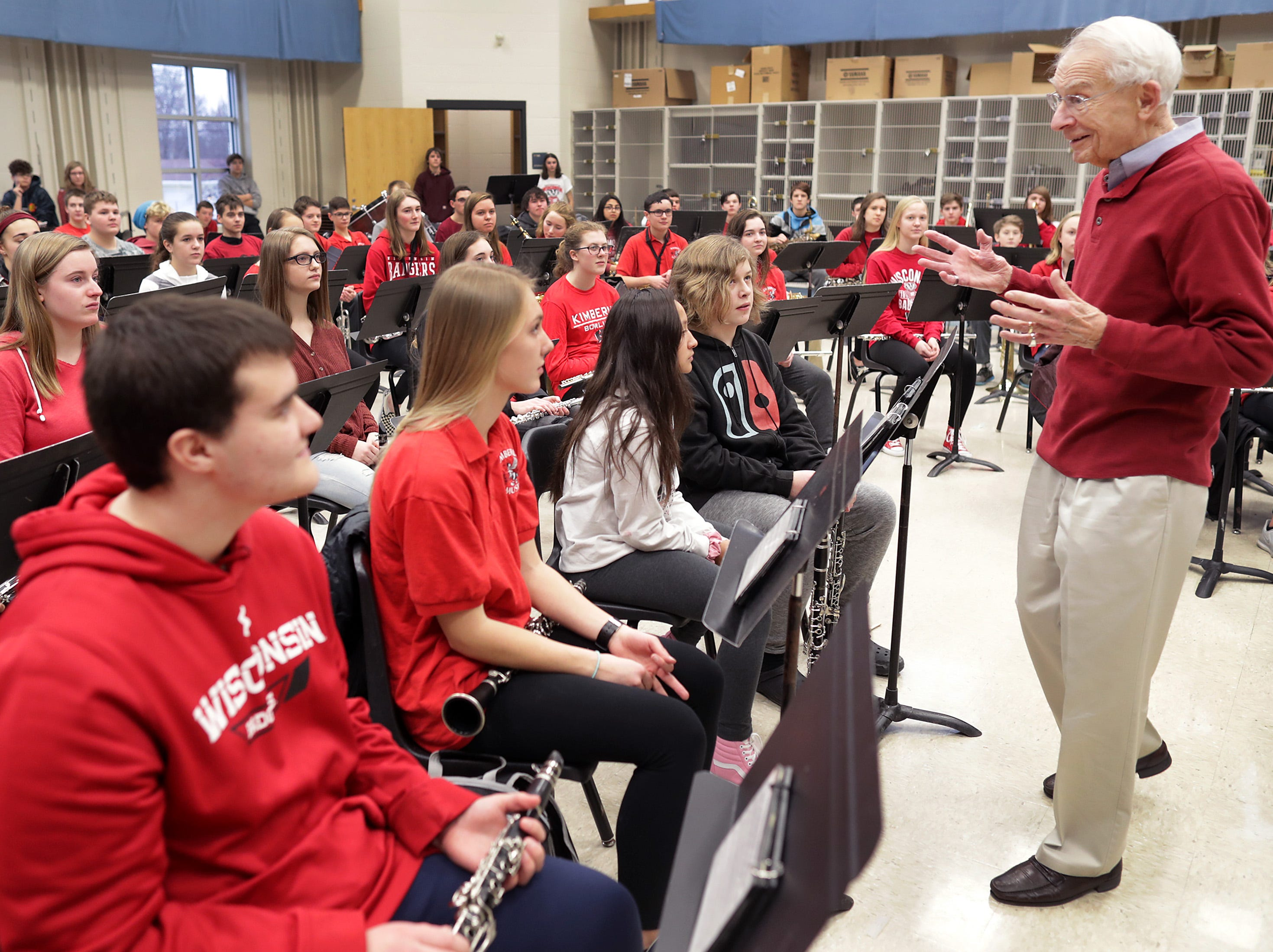 Legendary University of Wisconsin band leader Mike Leckrone talks with band students during a visit to Kimberly High School on Wednesday, January 15, 2019, in Kimberly, Wis.