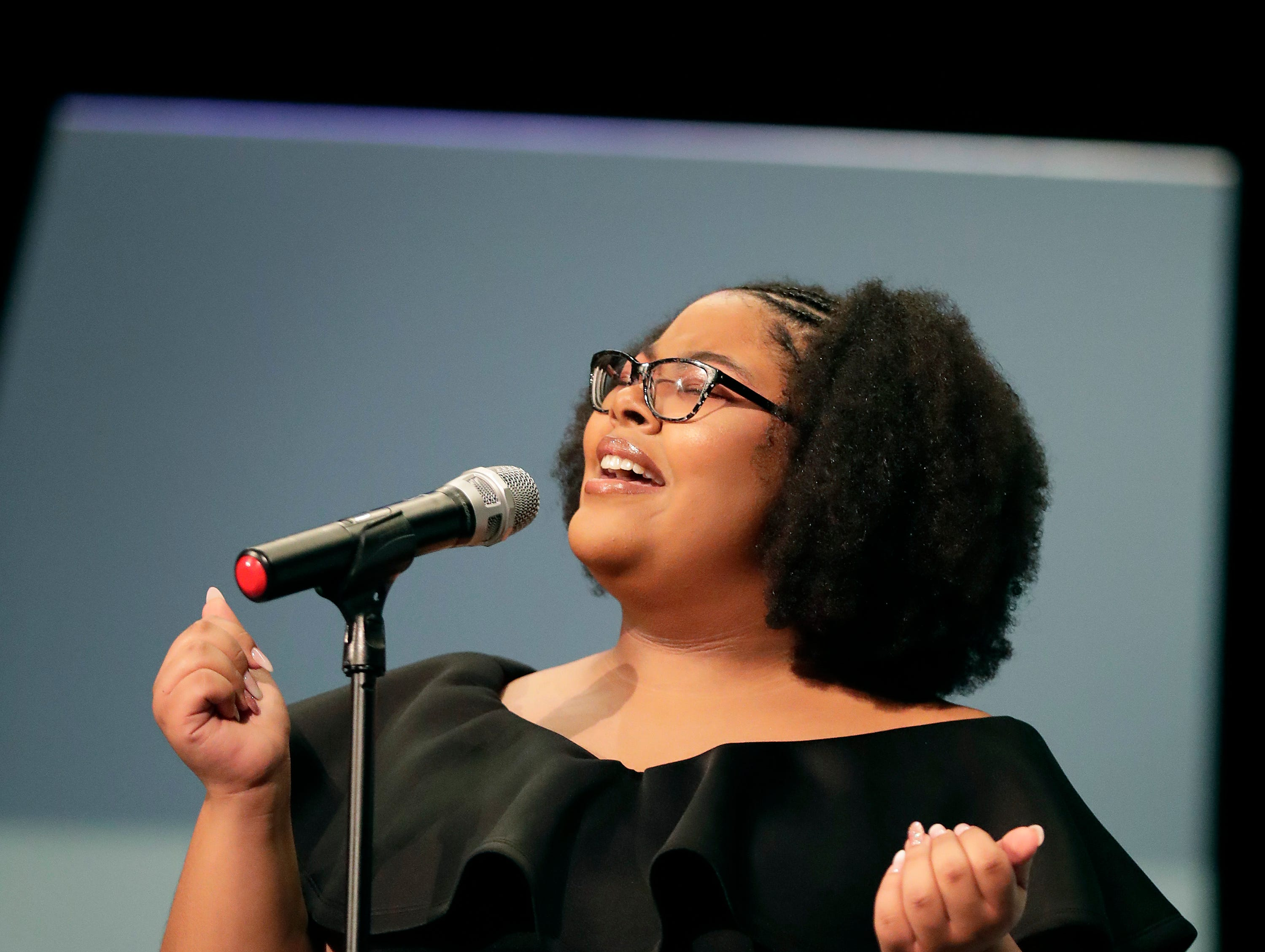 "Kala Lones sings ""Stand By Me"" during the first annual MLK Community Day of Service celebration on Monday, January 21, 2019, at Appleton East High School in Appleton, Wis.