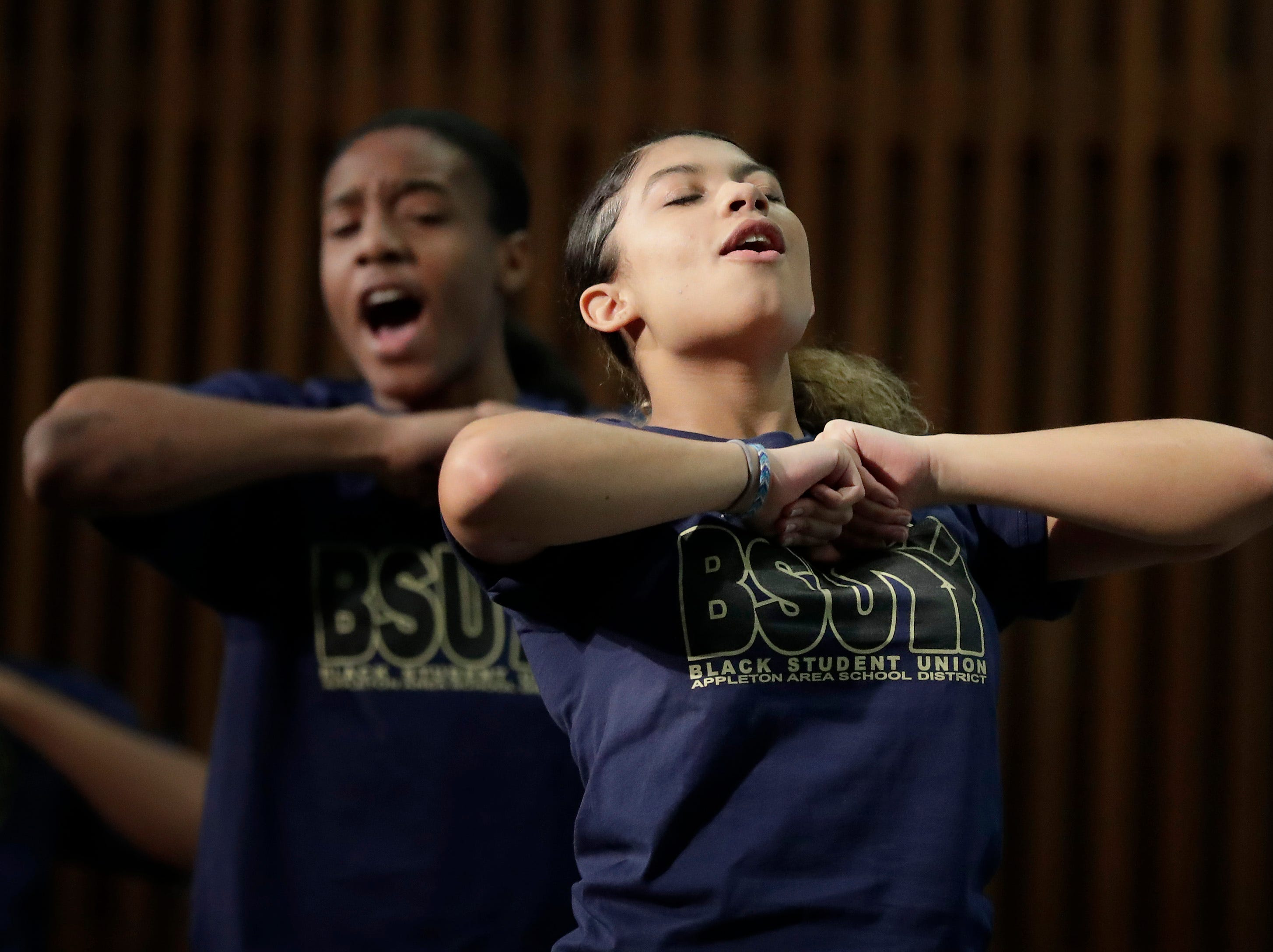 Olivia Weyenberg performs with the Appleton North BSU Step Team during the first annual MLK Community Day of Service celebration on Monday, January 21, 2019, at Appleton East High School in Appleton, Wis.