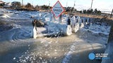 The Barnegat Bay begins to freeze along Route 35 southbound in Brick.