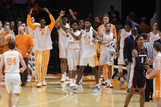 The Tennessee Volunteers celebrate after the game against the Georgia Bulldogs at Thompson-Boling Arena.