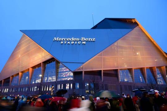 General view of Mercedes-Benz Stadium, site of Super Bowl LIII.