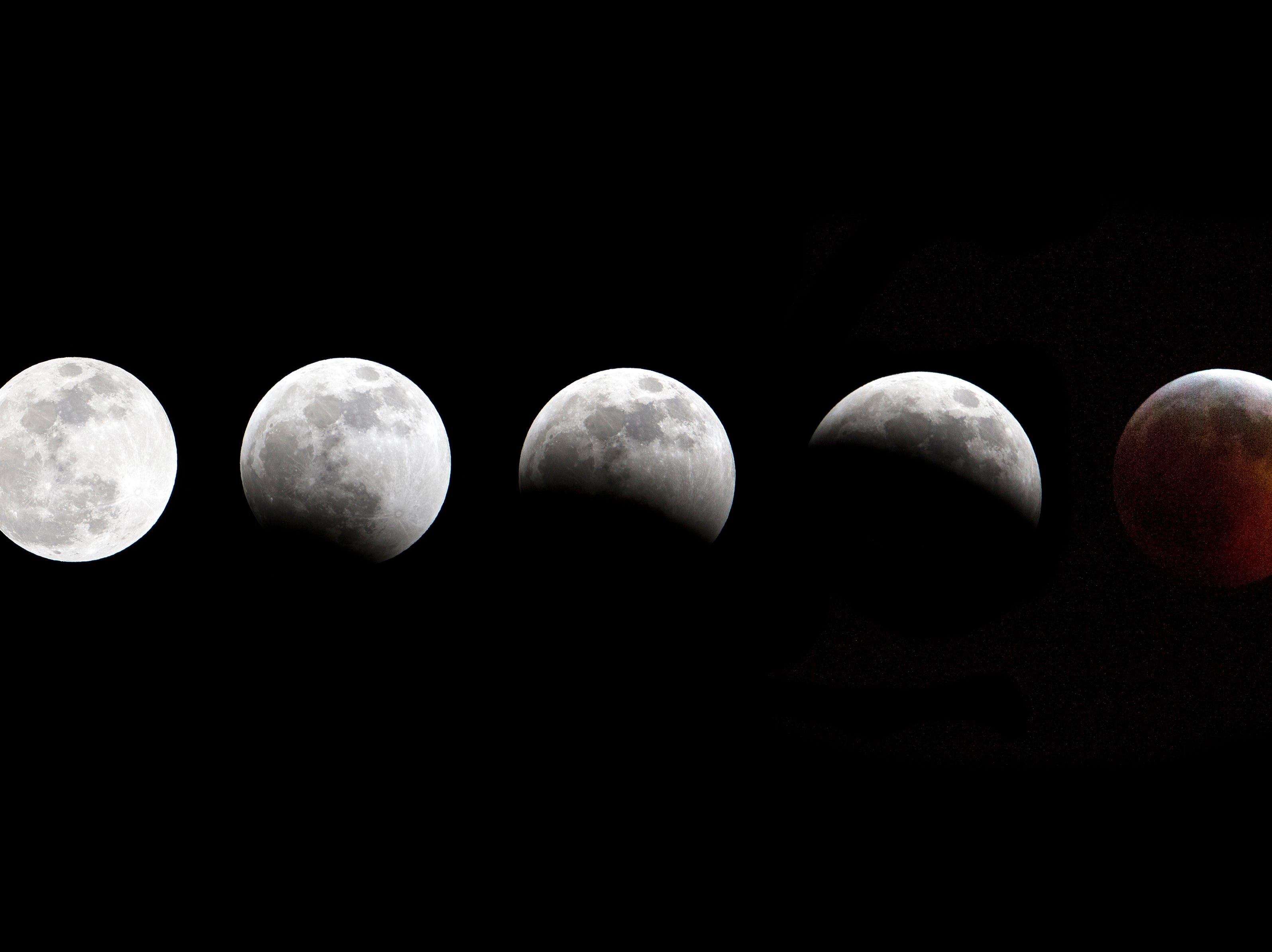 Jan 20, 2019; Virginia Beach, VA, USA; (Editors note: a composite of multiple photos) A view of the Super Blood Wolf Moon. Mandatory credit: Peter Casey