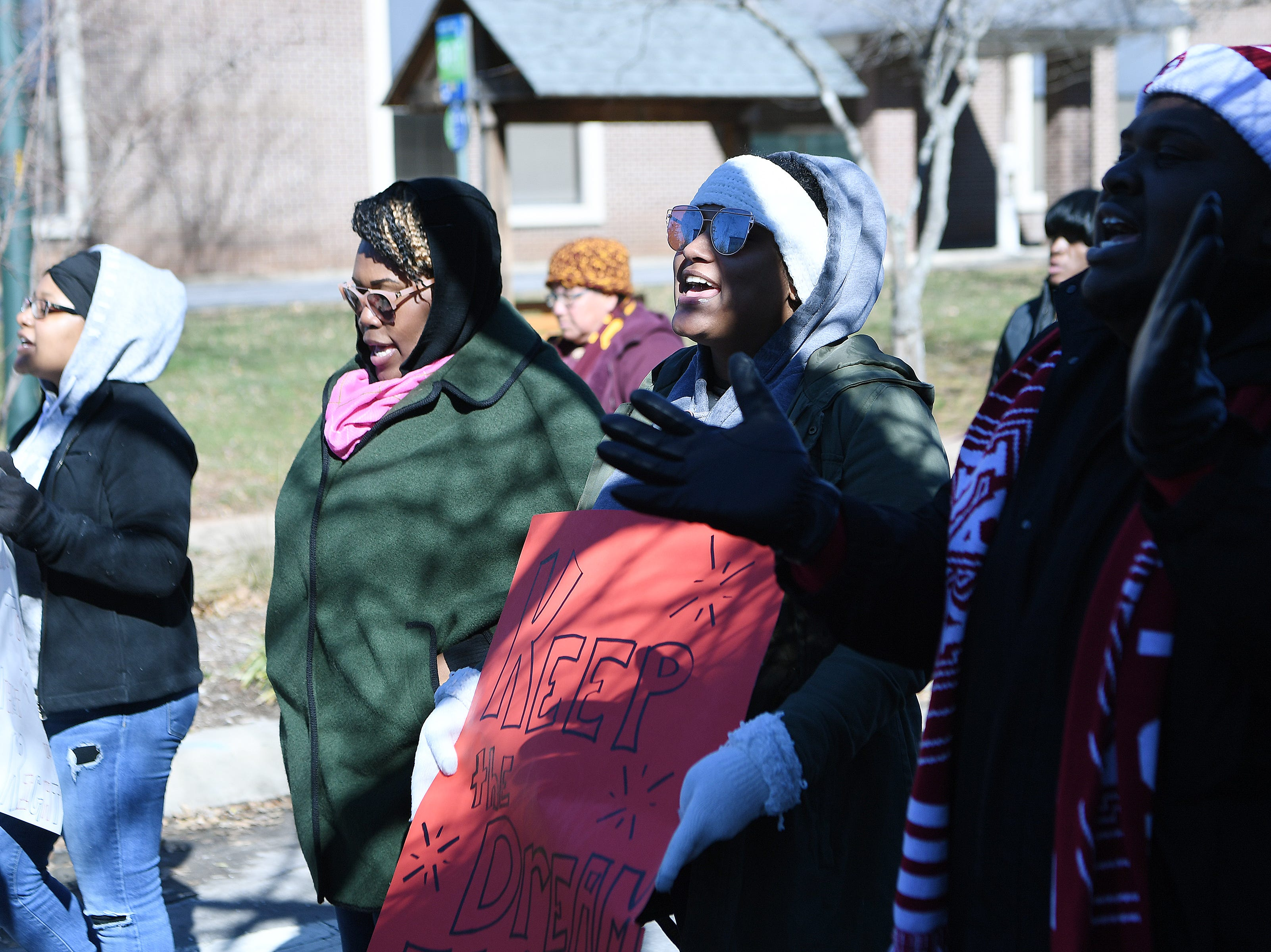 About 1,000 people braved below freezing temperatures to participate in the Dr. Martin Luther King, Jr. Peace March and Rally from St. James AME Church to Pack Square Park on Jan. 21, 2019.