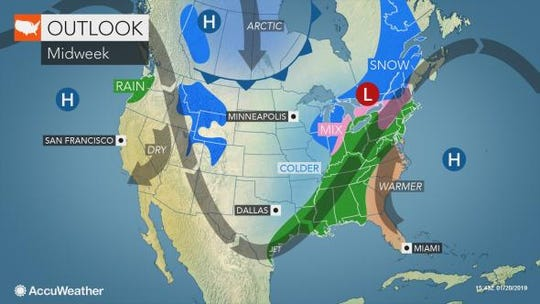 A mix of rain and snow may set in during the rest of the week.