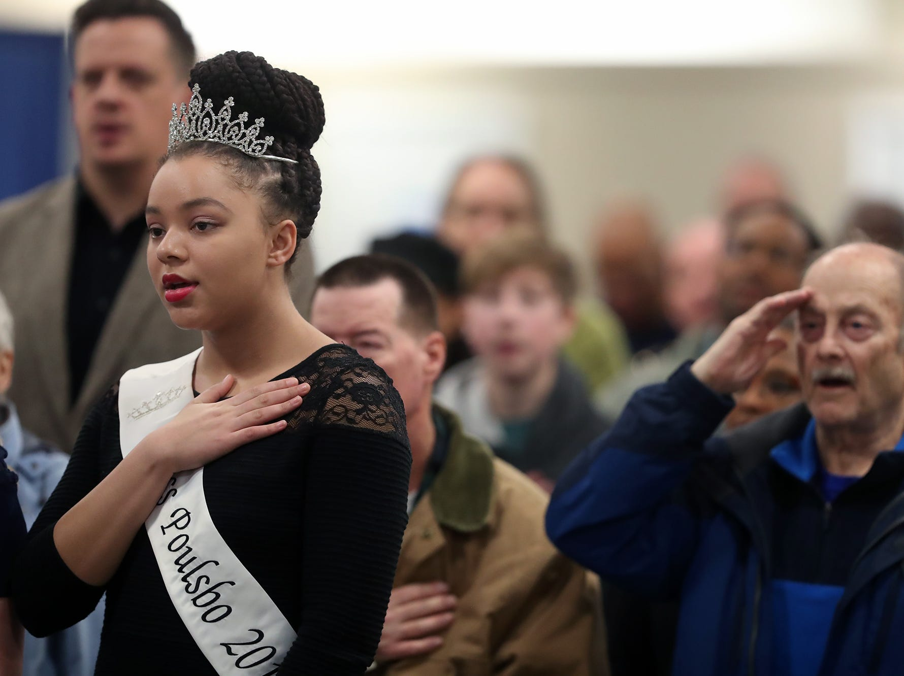 Miss Poulsbo Valentine Campbell during the National Anthem at the 25th annual Reverend Dr. Martin Luther King, Jr. celebration was held at PresidentsÕ Hall at the Kitsap County Fairgrounds on Monday, January, 21 , 2019.