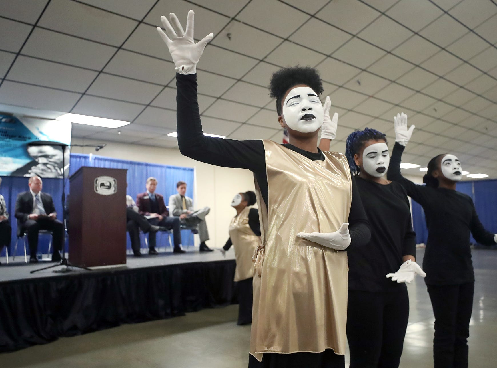 Promise Bell, 13,  center, and the MLK Community Mine Dance Ministry performs at the 25th annual Reverend Dr. Martin Luther King, Jr. celebration was held at Presidents' Hall at the Kitsap County Fairgrounds on Monday, January, 21 , 2019.