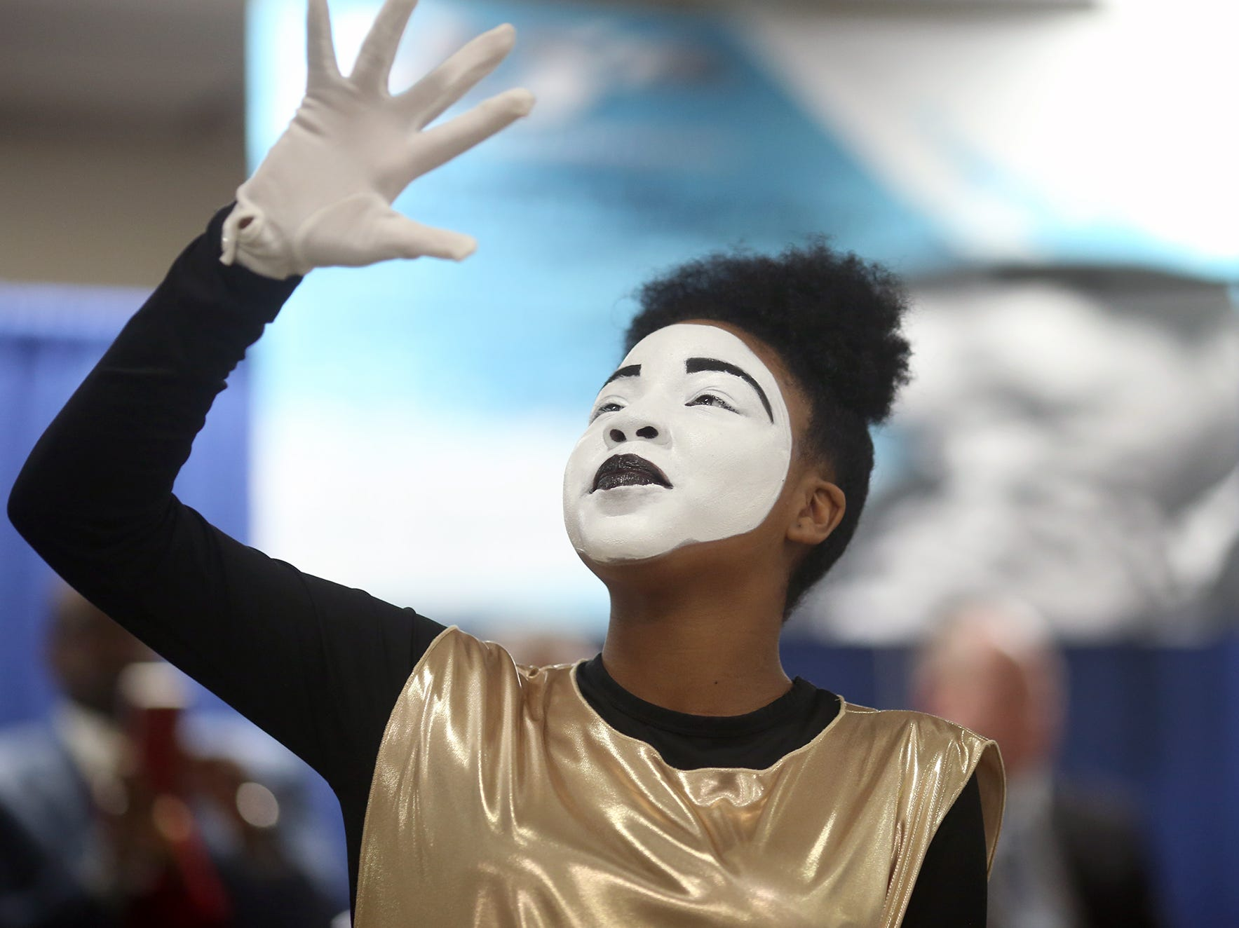 Promise Bell, 13,  of the MLK Community Mine Dance Ministry performs at the 25th annual Reverend Dr. Martin Luther King, Jr. celebration was held at PresidentsÕ Hall at the Kitsap County Fairgrounds on Monday, January, 21 , 2019.