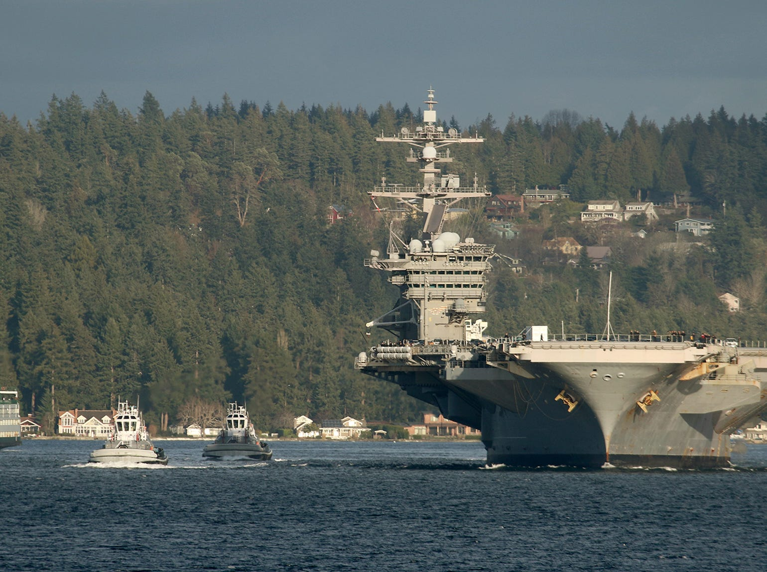 The USS Carl Vinson clears Rich Passage on the way to Bremerton on Sunday, January, 20 , 2019.