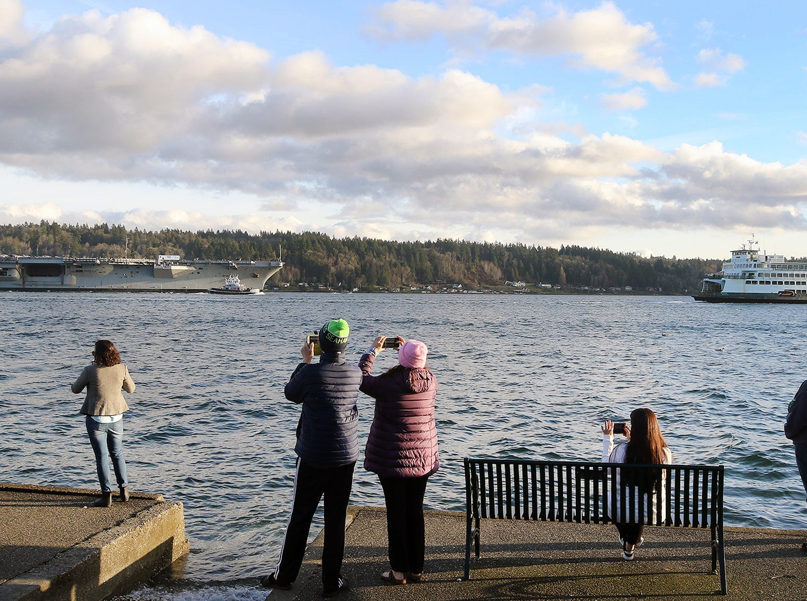 The USS Carl Vinson off Bachman Park in Bremerton on Sunday, January, 20 , 2019.