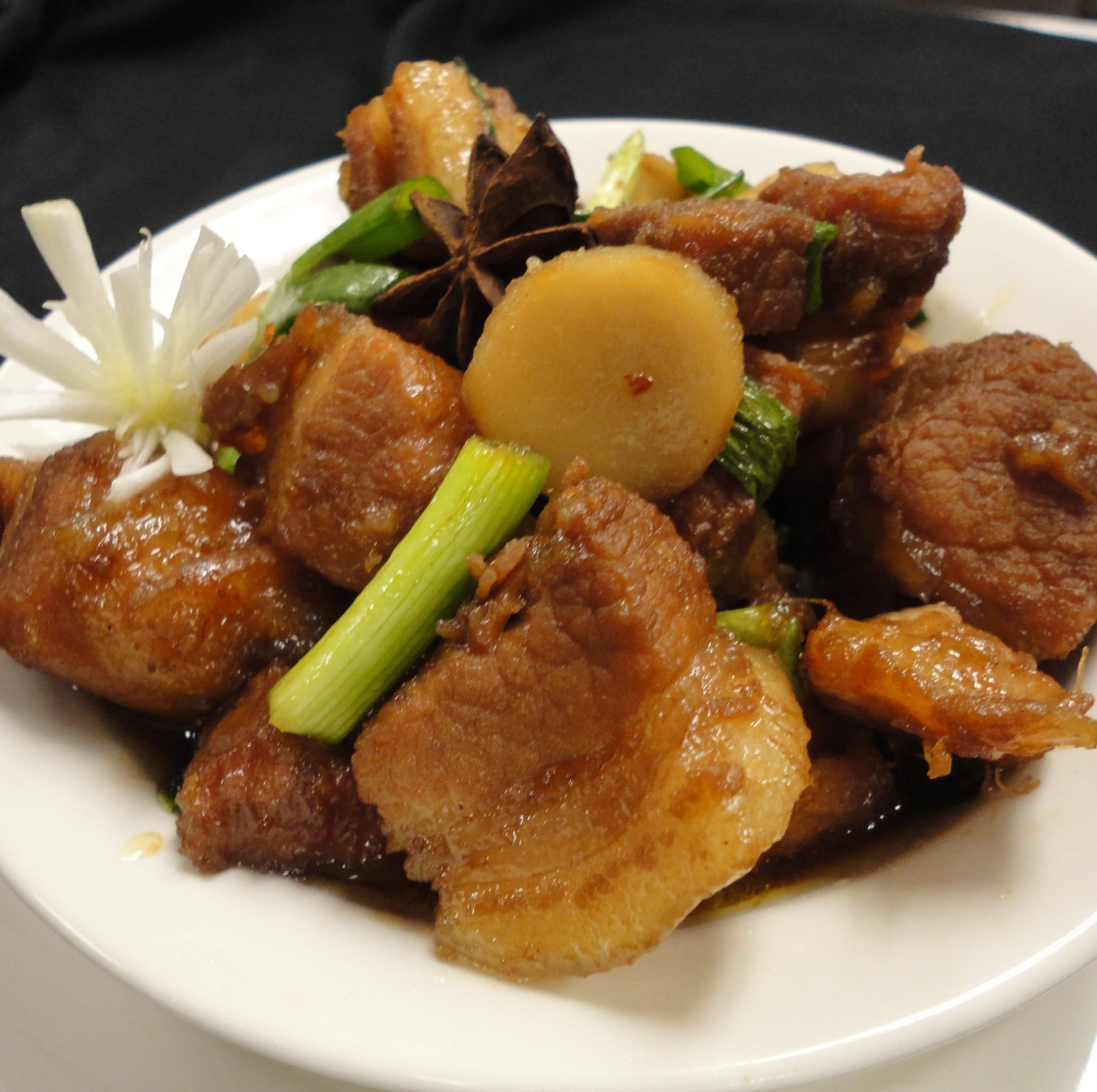 Red Braised Pork Belly -- pork belly braised with ginger, garlic, chile peppers, soy and rice wine -- is one of the dishes on the menu at this month's International Dinner at Florida Tech's Panther Dining Hall.