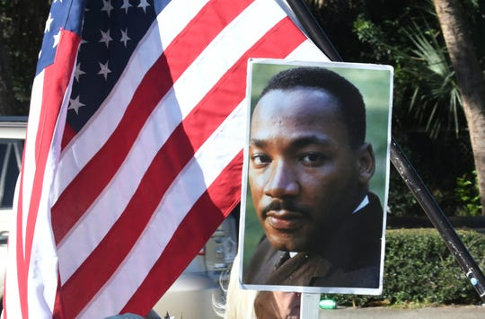 An image of Dr. Martin Luther King Jr. from Melbourne's 33rd annual MLK peace march in January. Hundreds of participants walked from the Dr. Martin Luther King, Jr. Public Library on University Boulevard to the Melbourne Auditorium.