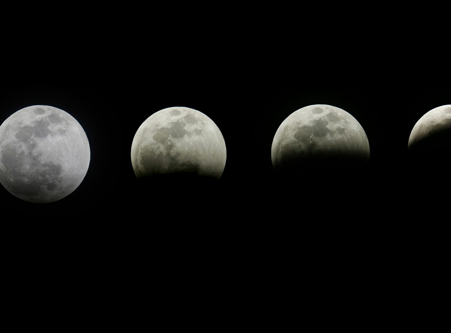 This combination photo shows the different stages of the blood moon and supermoon during a total lunar eclipse in Los Angeles, Sunday, Jan. 20, 2019.