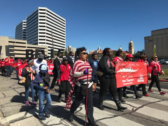 Members of the Corpus Christi chapter of Delta Sigma Theta Sorority, Inc., lead the 33rd annual Martin Luther King Holiday Celebration MLK Commemorative March on Jan. 21, 2019.