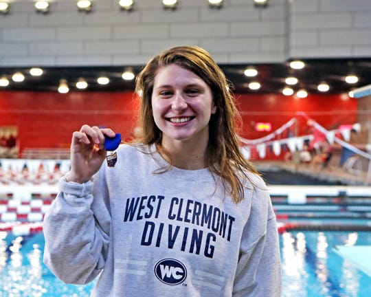 Morgan Southall from West Clermont High School wins the 2019 Southwest Ohio Girls Diving Classic at the University of Cincinnati.