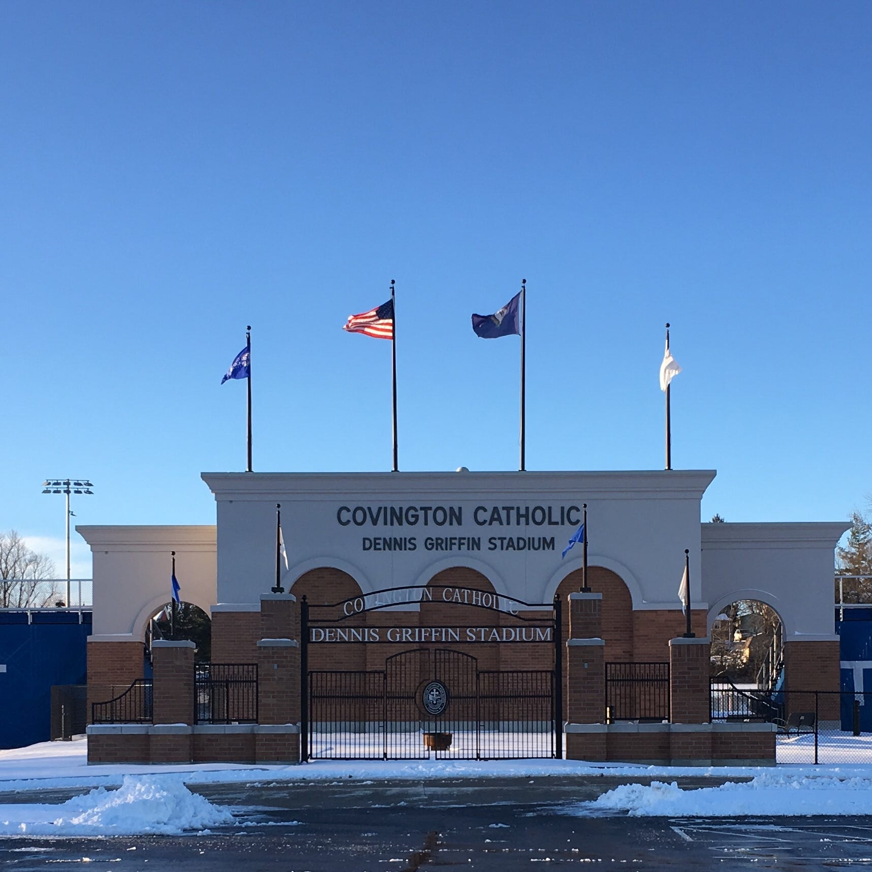 All was quiet Sunday, Jan. 20, 2019, on the Covington Catholic High School campus in Park Hills, Kentucky.