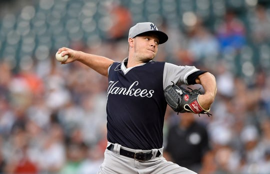 New York Yankees starting pitcher Sonny Gray delivers a pitch during the first inning of the second baseball game of a split doubleheader against the Baltimore Orioles, Saturday, Aug. 25, 2018, in Baltimore.
