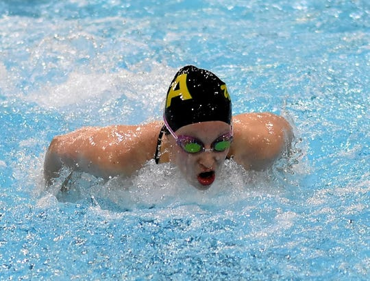 Ursuline Academy's Megan Glass powers to the finish in the girls 200-yard butterfly at the 2019 Southwest Ohio Swimming and Diving Classic, Jan. 20, 2019.