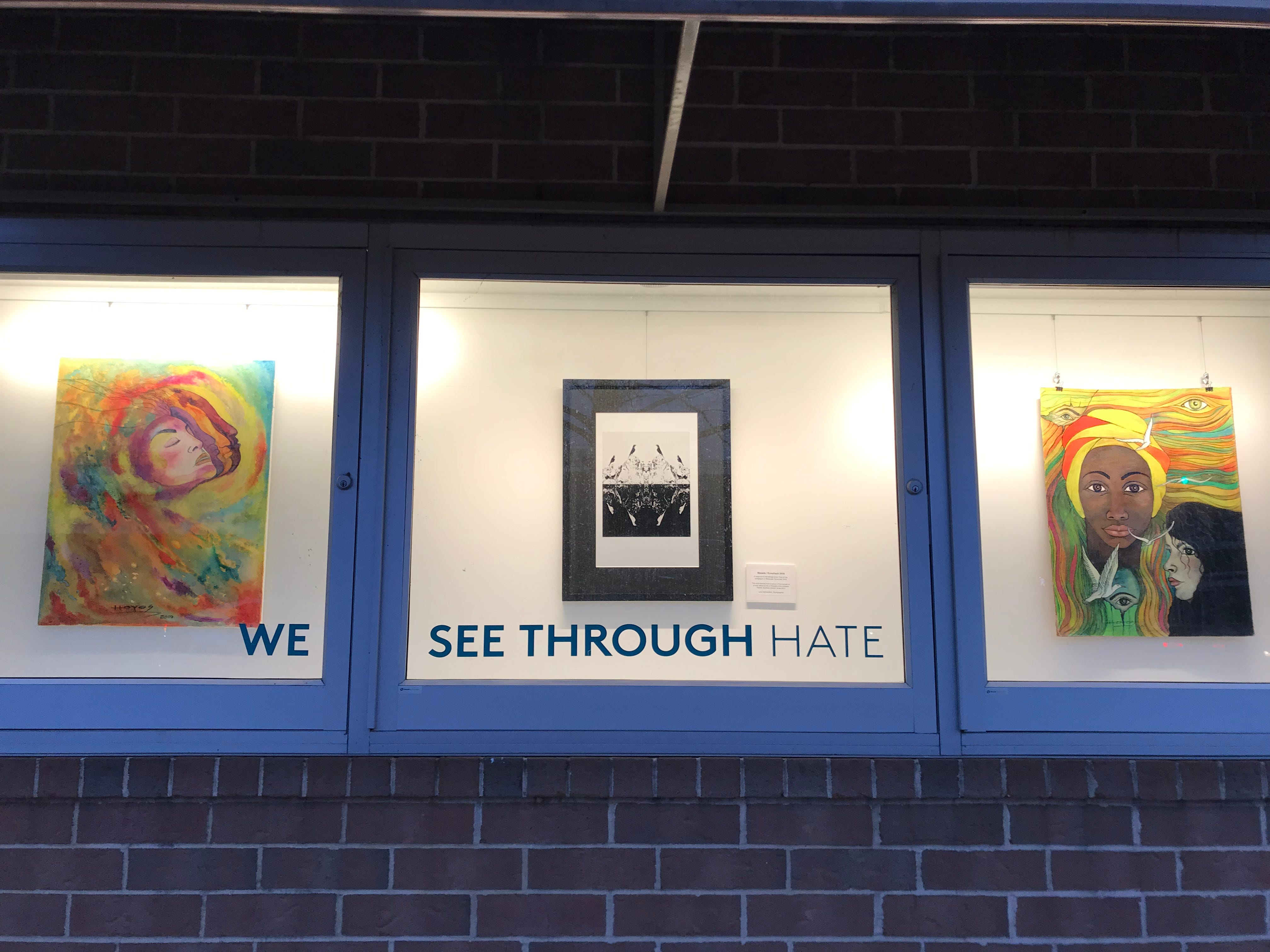 "The Windows of Understanding public art display, whose theme is ""We See through Hate,"" includes a variety of works outside the Rite Aid on Raritan Avenue."