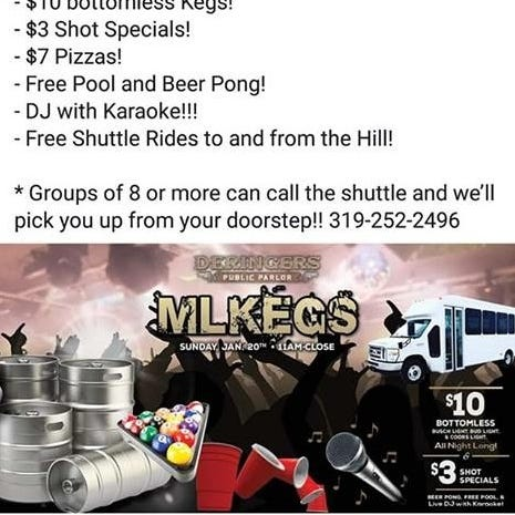 Iowa bar's 'MLKegs' event stirs social media outrage among those who say it 'dishonors' Martin Luther King Jr.