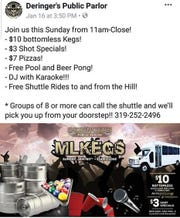 "A screenshot of a Facebook post by Deringer's Public Parlor promoting the bar's ""MLKegs"" event."