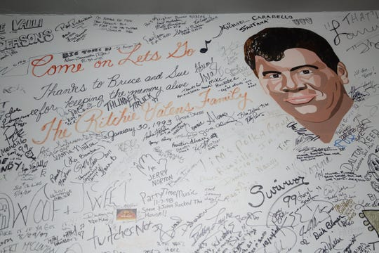 This portrait of Richie Valens is on the wall in the green room of the Surf Ballroom on Tuesday, Jan. 15, 2019, in Clear Lake. Performers at the Surf have a tradition of signing the room's walls.