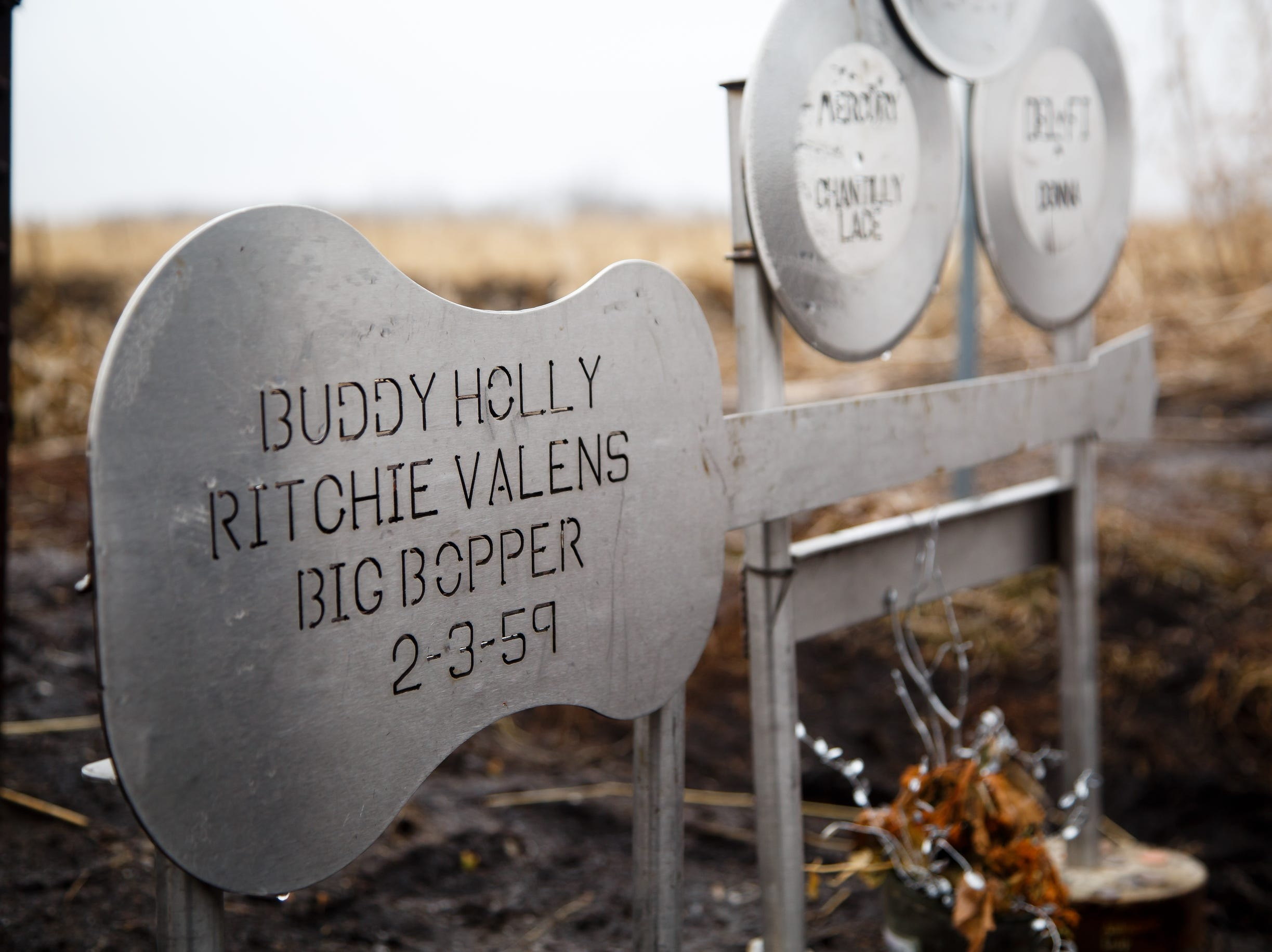 "A memorial to Buddy Holly, Ritchie Valens, and J.P. ""the Big Bopper"" Richardson sits in the field on Tuesday, Jan. 15, 2019, in Clear Lake where their plane crashed on February 3, 1959 after a concert at the Surf Ballroom during the Winter Dance Party tour."