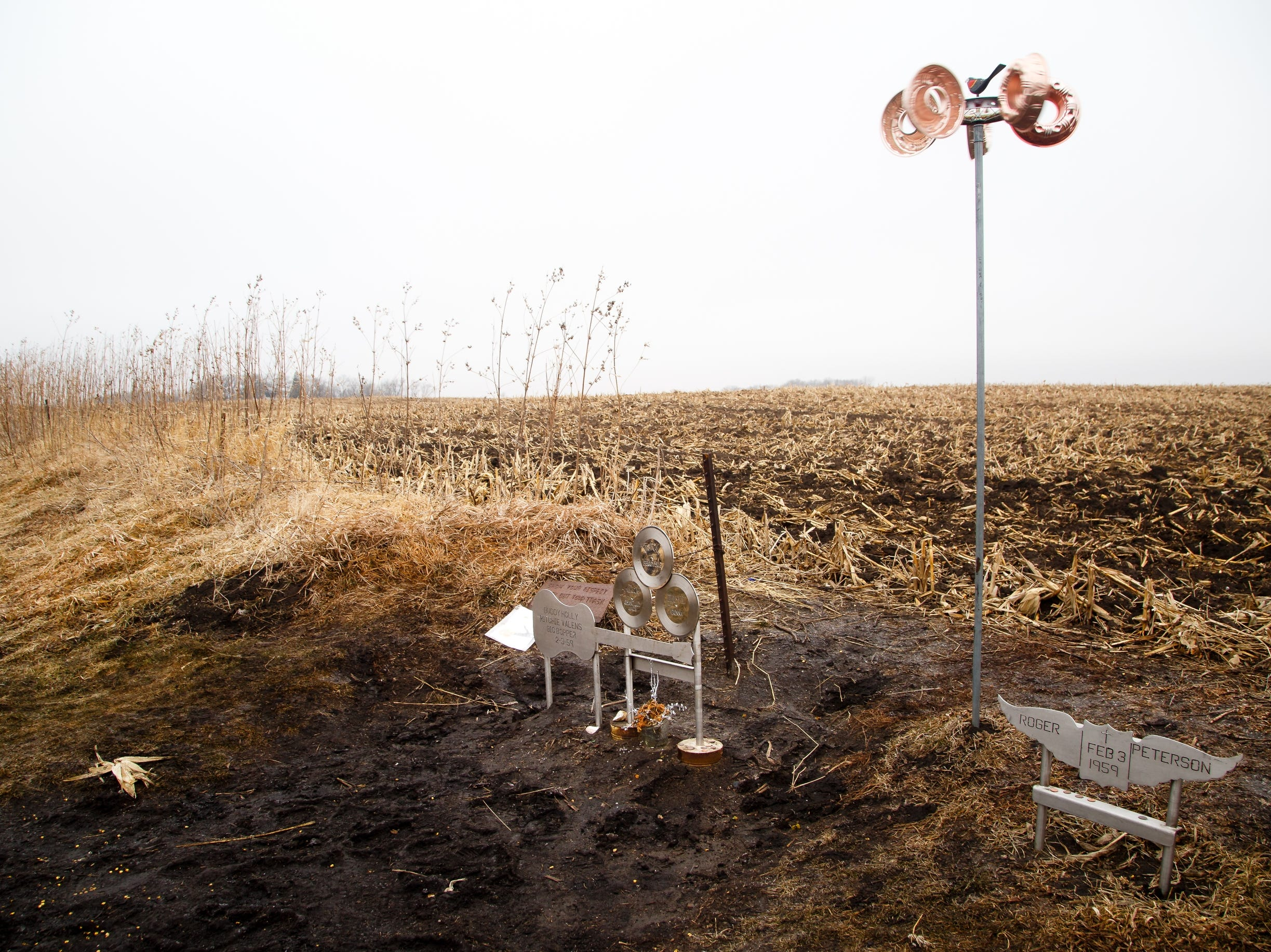 "A memorial to Buddy Holly, Ritchie Valens, and J.P. ""the Big Bopper"" Richardson sits in the field on Tuesday, Jan. 15, 2019, in Clear Lake where their plane crashed on February 3, 1959 after their concert at the Surf Ballroom during the Winter Dance Party tour."