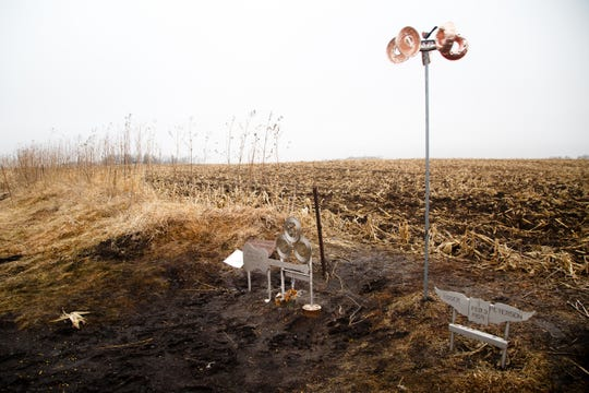 "A memorial to Buddy Holly, Ritchie Valens, and J.P. ""the Big Bopper"" Richardson sits in the field on Tuesday, Jan. 15, 2019, in Clear Lake where their plane crashed on Feb. 3, 1959, after their concert at the Surf Ballroom during the Winter Dance Party tour."