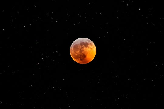 The super blood wolf moon from Michigan on Jan. 20, 2019.