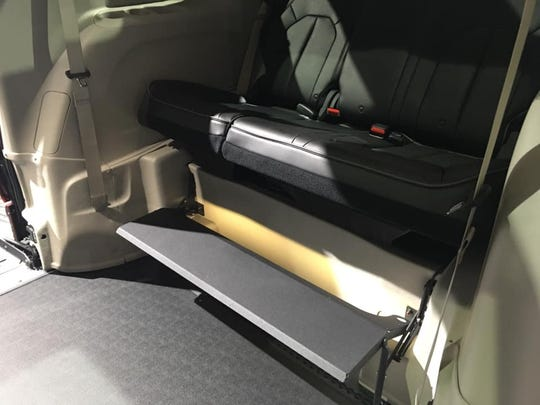Photo of the seats for backseat passengers in a 2019 Chrysler Pacifica that has been converted for wheelchair accessibility is on display at the 2019 North American International Auto Show at Cobo Center in Detroit, Michigan, on Jan. 16, 2019.