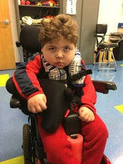 Martin Huschka, 4, is the son of Amy and Robert Huschka of St. Clair Shores. Martin goes to school at Keith Bovenschen School in Warren and he will use a wheelchair his entire life.