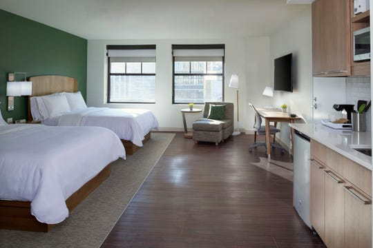 A guest room inside the new 110-room Element at the Metropolitan hotel, located at 33 John R in Detroit.