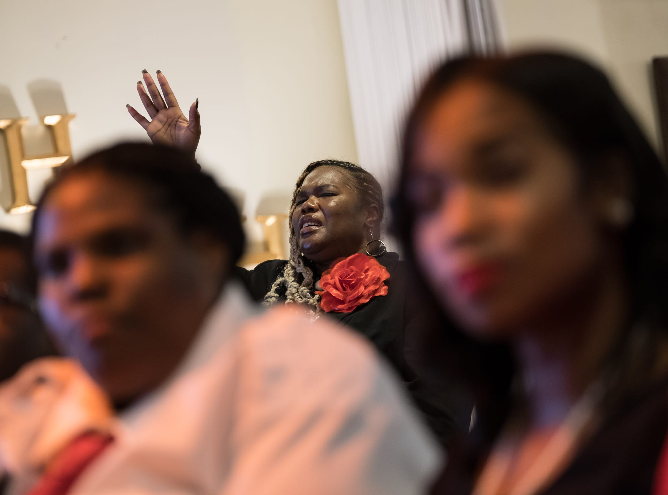 Attendees listen to a speaker during the funeral for the late Rudy Barker at Hutchison Funeral Home in Detroit on Monday, January 21, 2019. Barker was known for his impressions of late civil rights leader Martin Luther King Jr. and was buried on the national holiday honoring his hero.