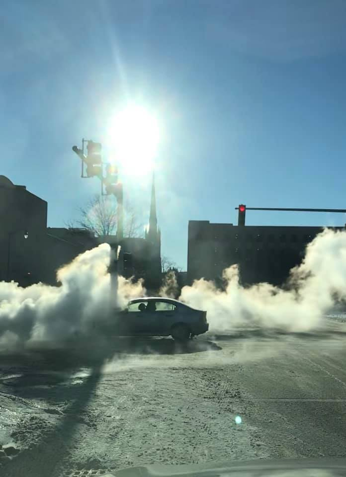 Third Street at Lafayette in Detroit, where the steam was rising from the manholes into the frigid air.