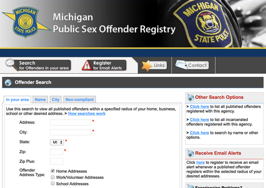 ACLU lawsuit seeks changes to Michigan sex offender registry