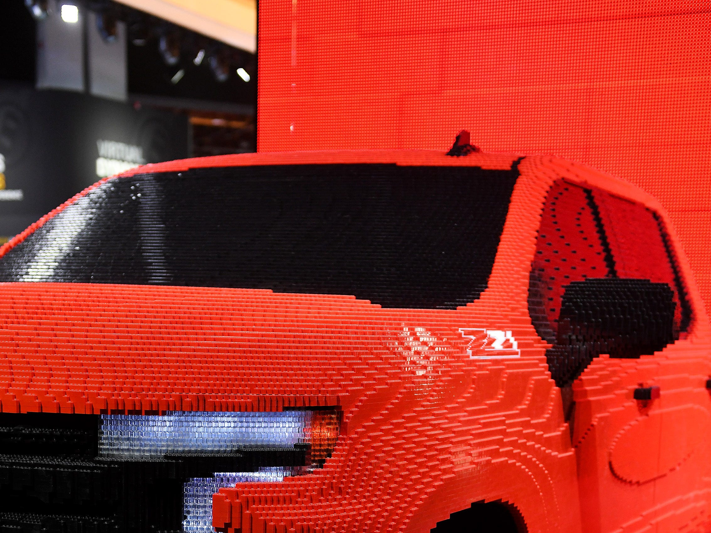 A Silverado made from Legos is on display at the North American International Auto Show at Cobo Center in Detroit.