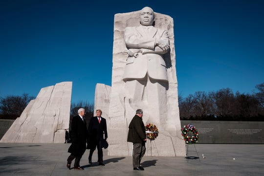 President Donald Trump and Vice President Mike Pence visit the Martin Luther King Jr. Memorial on January 21, 2019 in Washington, DC. They placed a wreath to commemorate the slain civil rights leader.