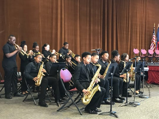 The Birney Middle School Jazz Band performs Monday during the Dr. Martin Luther King, Jr. Holiday Peace Walk Celebration at the Southfield Pavilion on Monday, January 21, 2019.