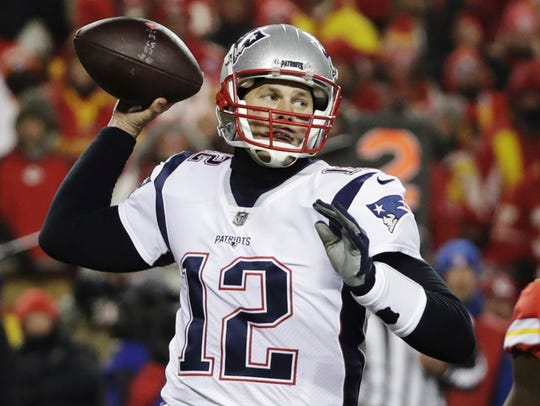 New England Patriots quarterback Tom Brady throws a pass during the second half of the AFC championship game against the Kansas City Chiefs.
