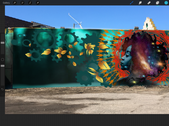 A rendering of the mural that local artist Fel3000ft plans to paint on the outside of ArtBlock.