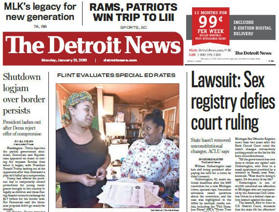 The front page of The Detroit News on Monday, January 21, 2019.