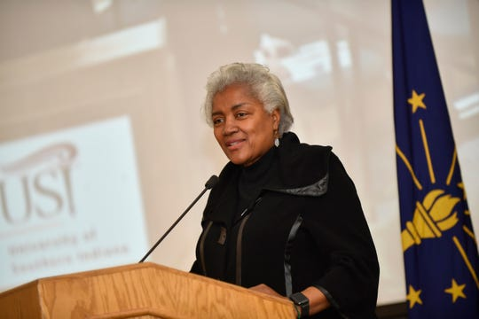 Political strategist and former Democratic National Committee chair Donna Brazile speaks at the University of Southern Indiana's annual MLK Memorial Luncheon on Monday, Jan. 21, 2019.