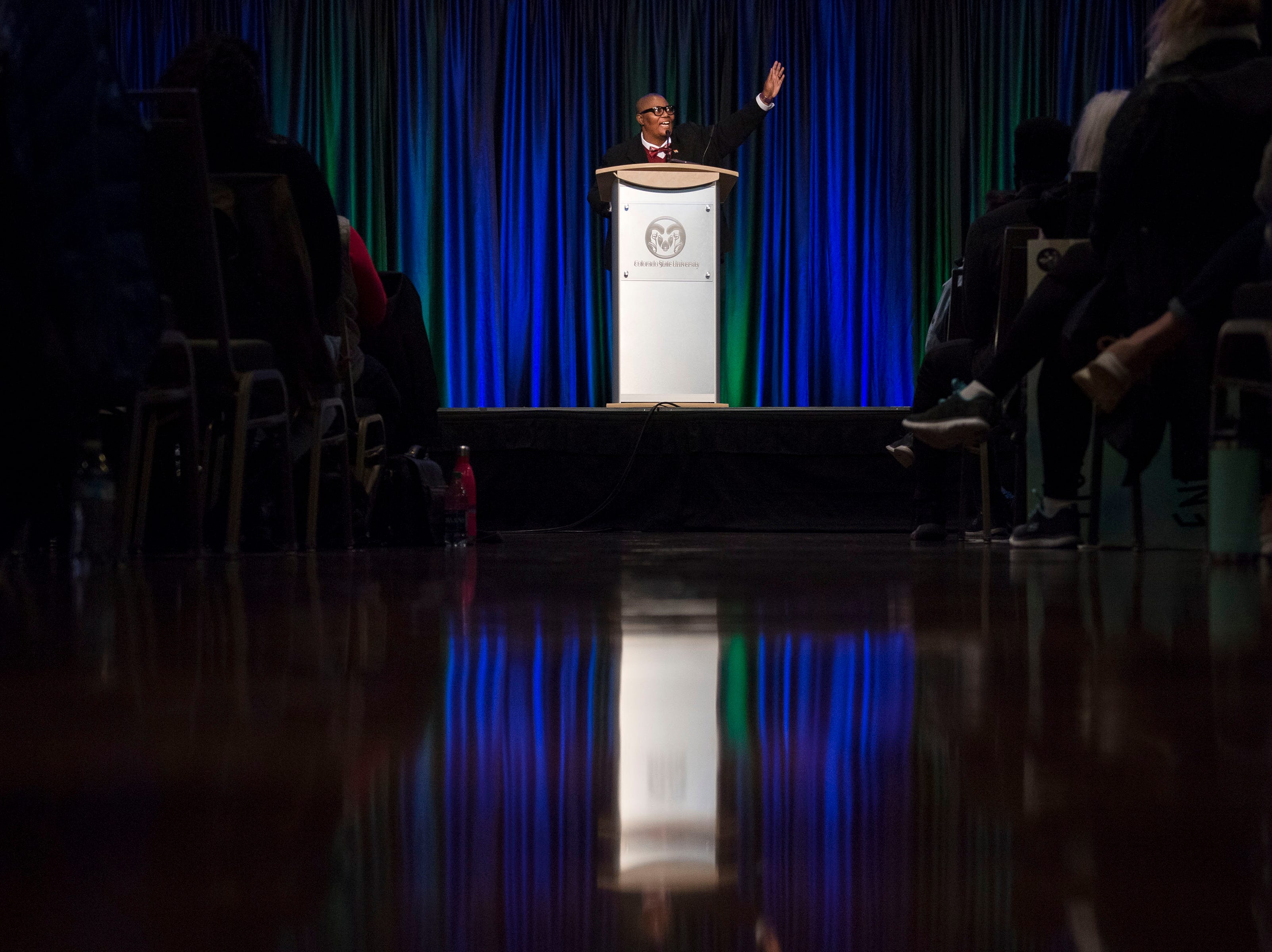 Dr. Martin Luther King, Jr. March & Celebration keynote speaker Fleurette King addresses the audience on Monday, Jan. 21, 2019, at the Lory Student Center on the Colorado State University campus in Fort Collins, Colo.