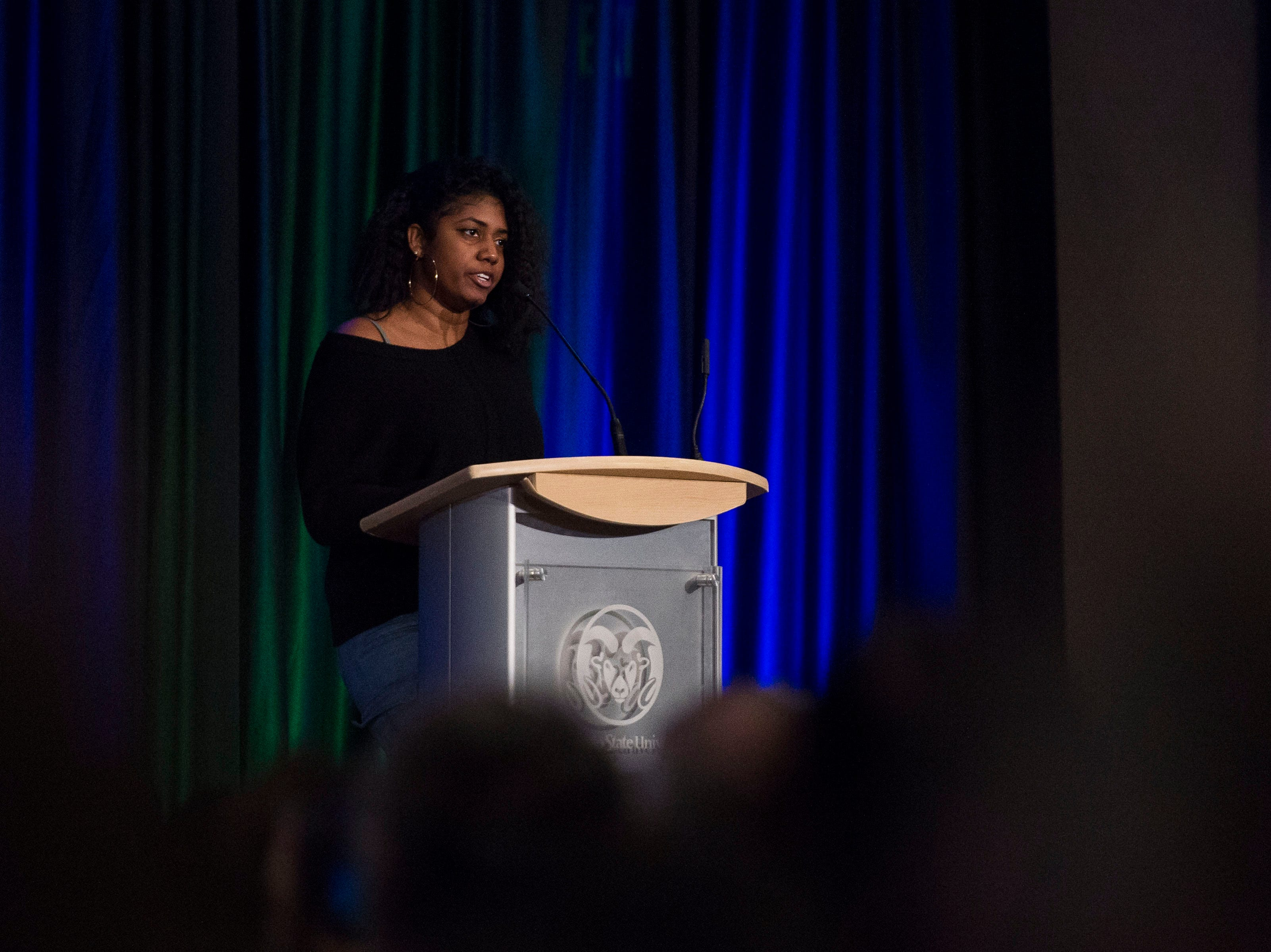 Spoken word poet Michelle Mendoza recites her poem during the Dr. Martin Luther King, Jr. March & Celebration on Monday, Jan. 21, 2019, at the Lory Student Center on the Colorado State University campus in Fort Collins, Colo.