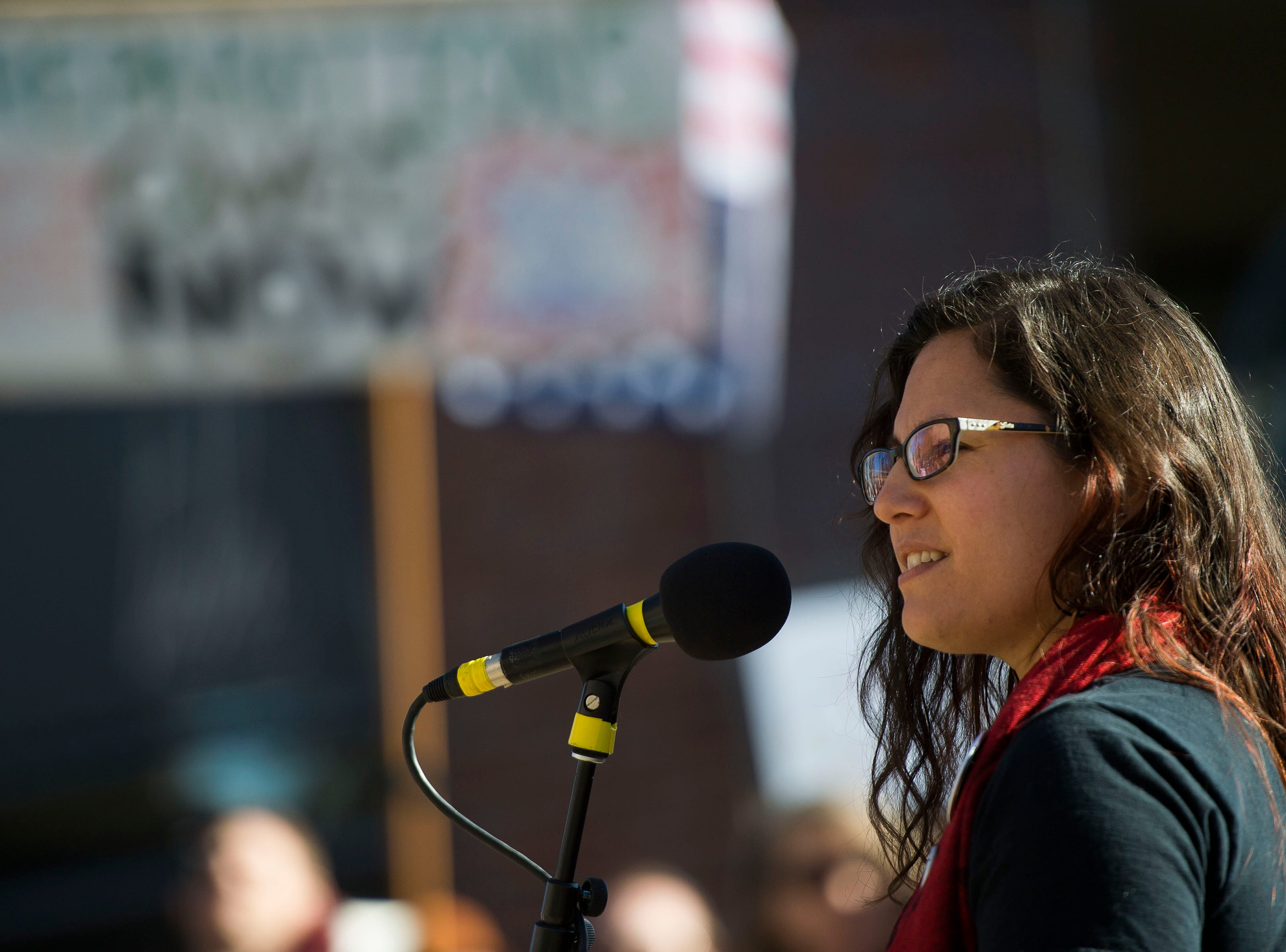 March leader Dominique David-Chavez gives a speech to the audience assembled in Old Town Square during the Dr. Martin Luther King, Jr. March & Celebration on Monday, Jan. 21, 2019, in Fort Collins, Colo.